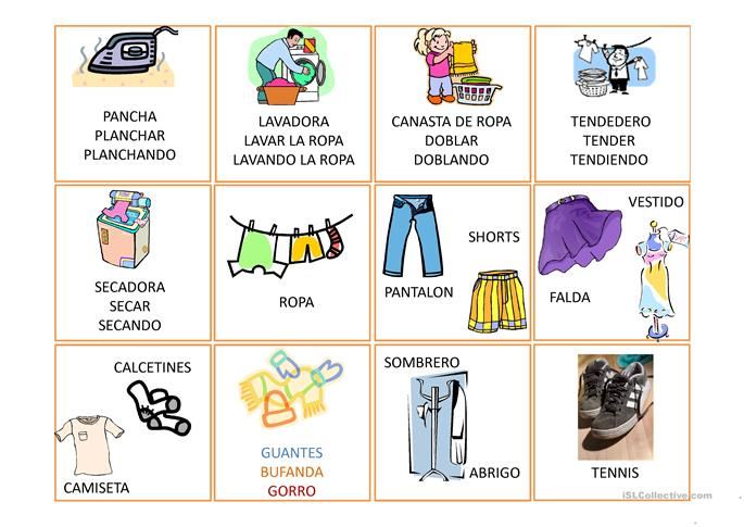 Vocabulario Basico ropa trabajos - Free ESL projectable worksheets ...