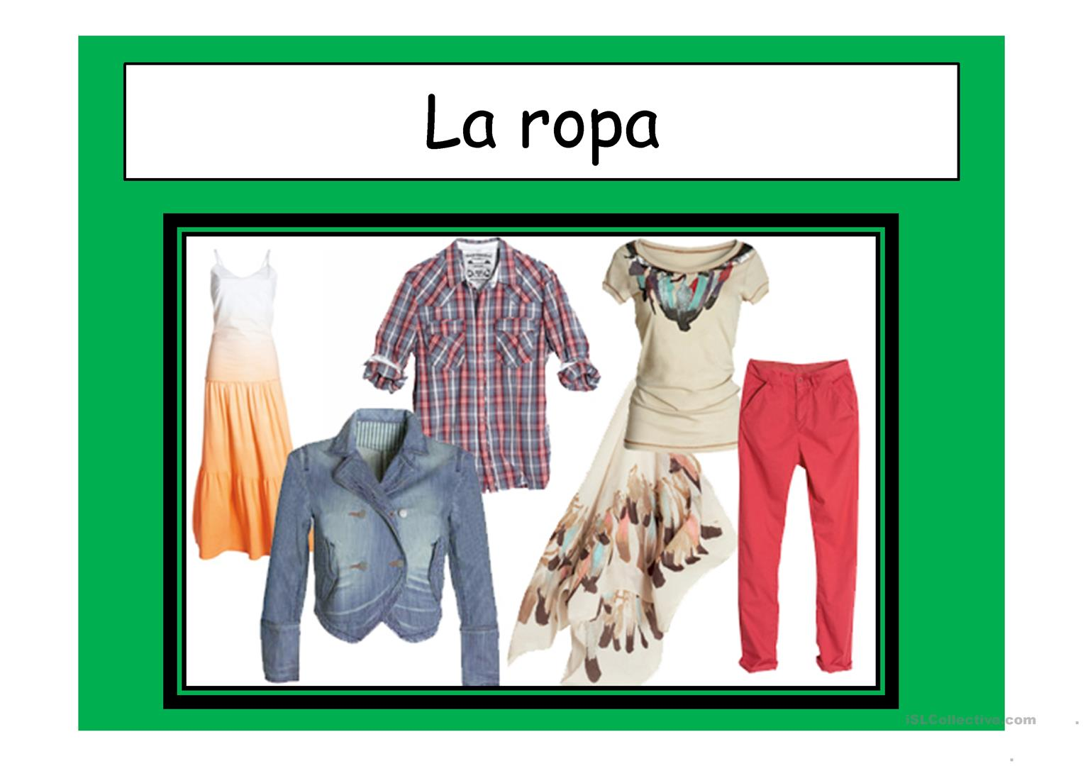 La Ropa Trabajos Free Esl Projectable Worksheets Made By Teachers