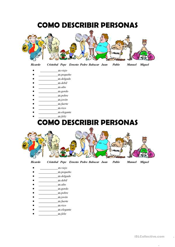 Como describir personas